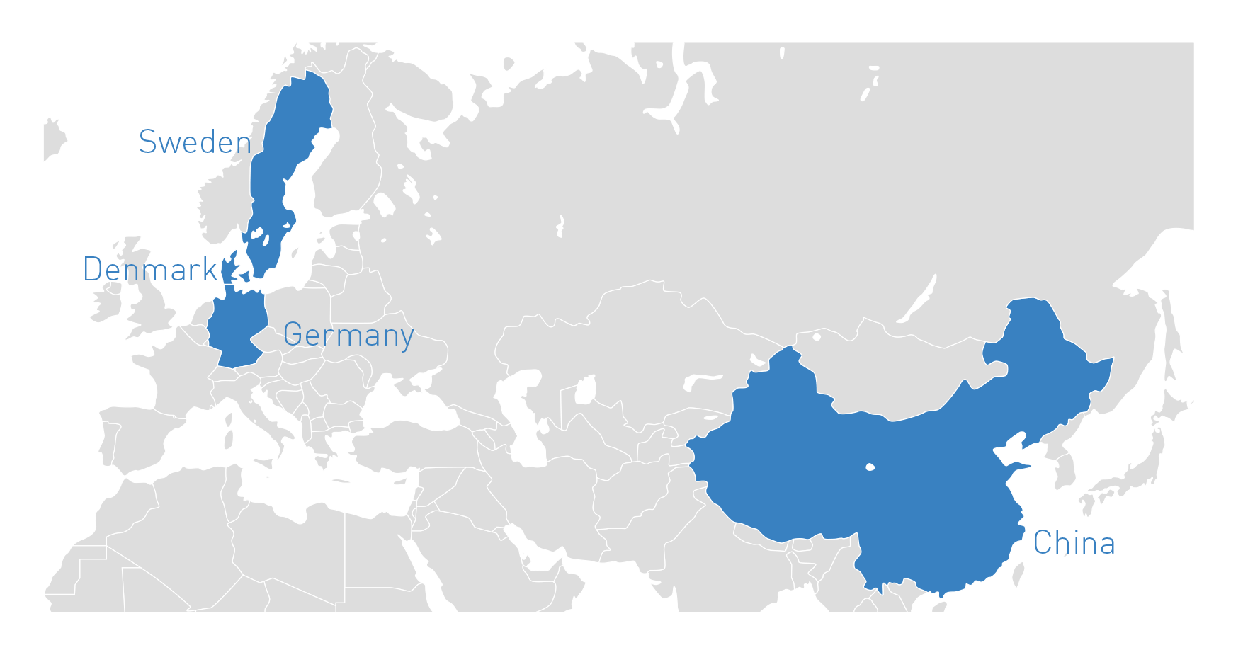 Portion of the world map highlighting Sweden, Denmark, German and China.